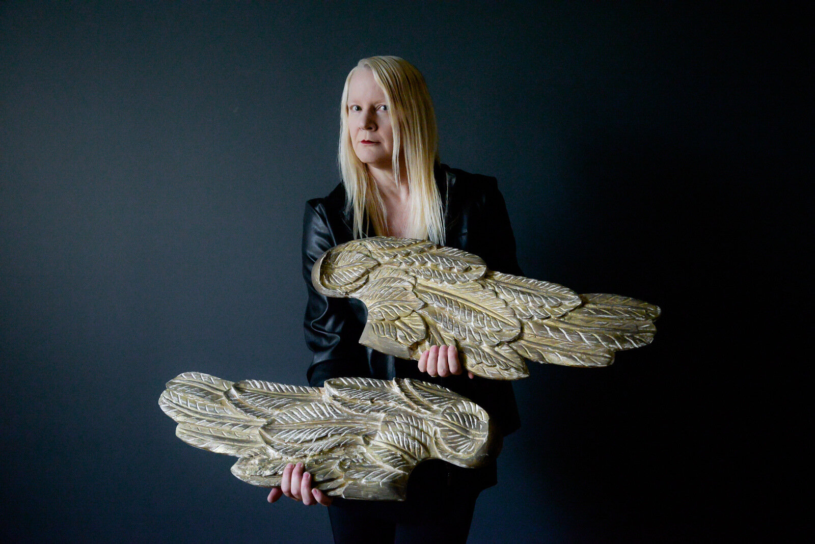 Shawna Lemay holding wings