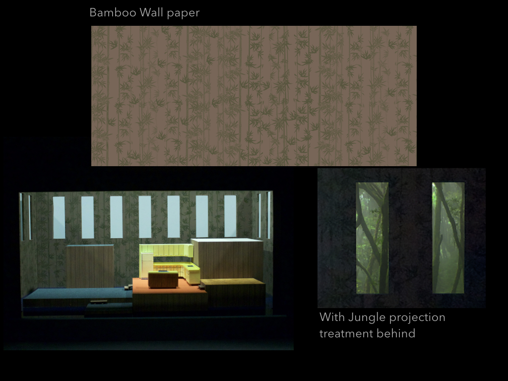 """The walls show a motif of 1960's graphic bamboo wallpaper, which was popular at the time, but also serves as a reference to the war, the jungle and how this broken home is an expression of the mindscape of those imprisoned by it — not only Thompson but Alyce as well who is enslaved in her domestic prison.  The walls contain thirteen 10'0"""" x 3'0"""" simplified openings, abstracted windows, high up, serving as a prison bar motif, but also as a mechanism through which to view projection and bring further light and information into the contained world of the opera.  The taller platforms are accessible by escape stairs to their rear, and the wall surround has entrance and exit doors outside of sightlines."""