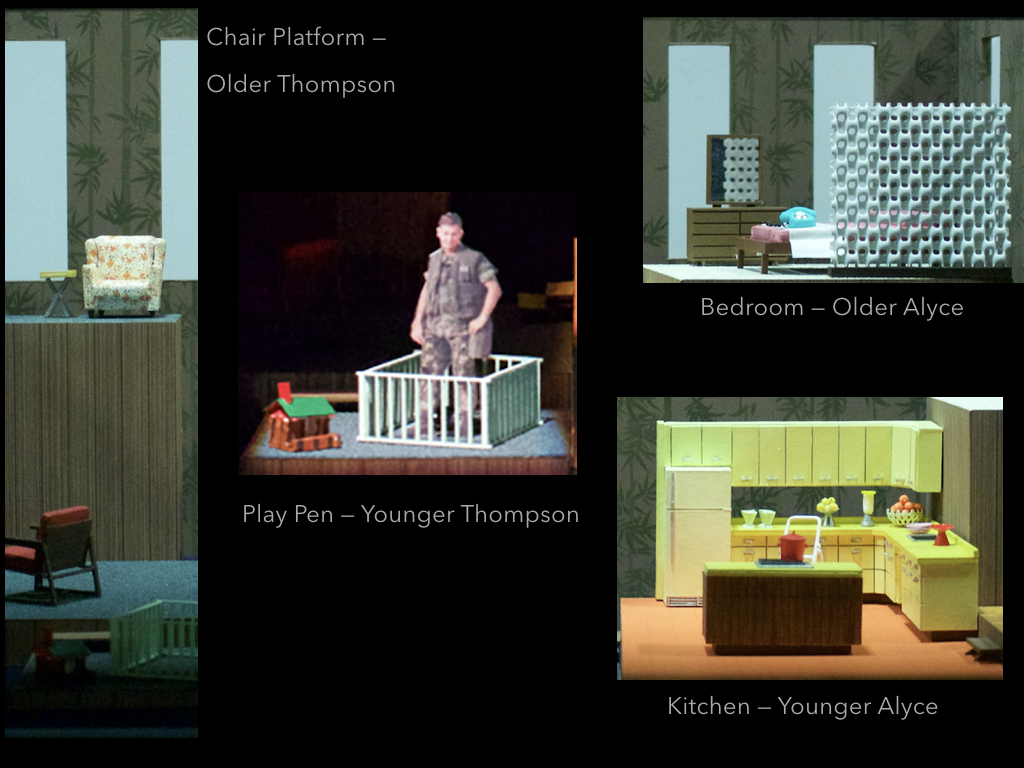 Each space is defined by very specific and withheld furniture choices, to give the character of the activity of the space. The child pen serves as Thompson's prison, the Lincoln logs within it his action for a future he planned and built which is beyond his reach. The old lumpy chair and TV dinner table on the high platform, a vignette for old Thompson, from which to be most isolated from his family and his hope. The bedroom is a space for old Alyce, also in isolation, a desert island, a space she has inhabited alone or when shared brings her shame and conflict. The 1960's bone screen in the bedroom can cast shadows over the fragmented home and is a useful mechanism for oppressive moments of the play. The kitchen, pristine and bright, holding the entire burden beneath the shiny exterior of a suburban housewife.