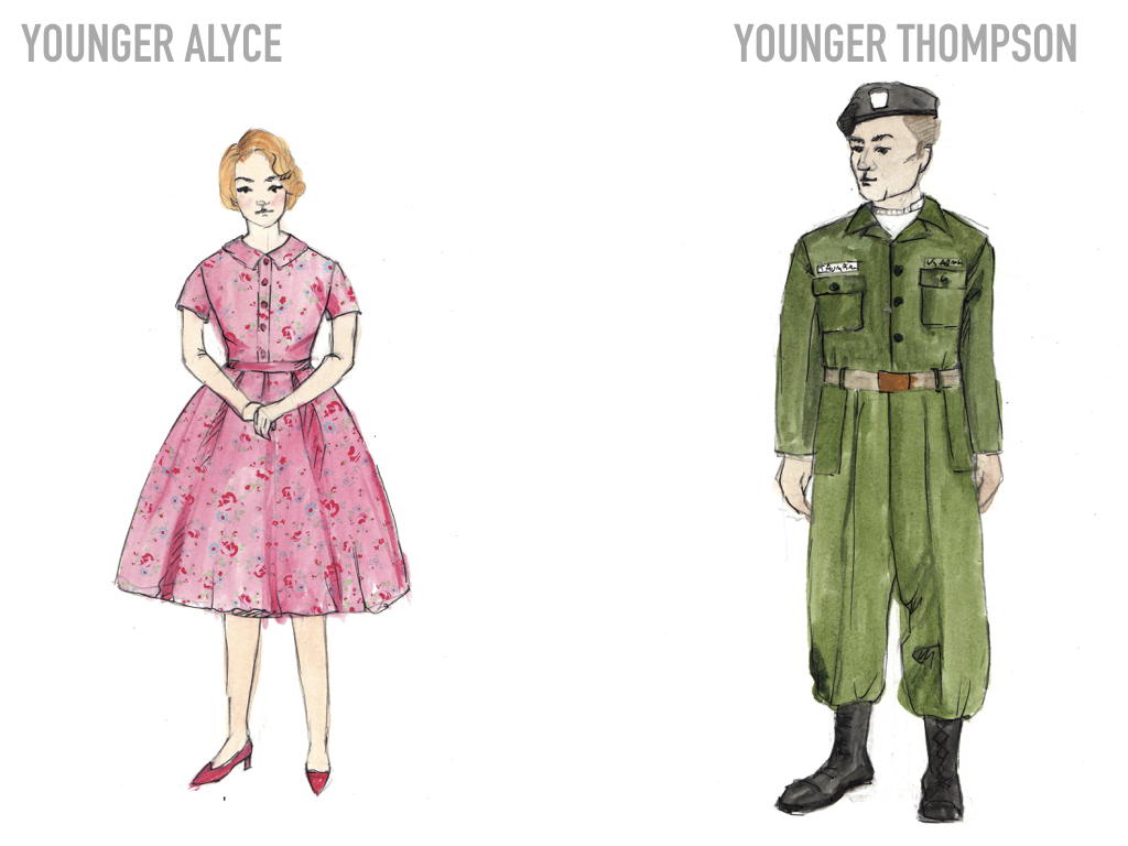 The color palette we use on both of them also serves to further illustrate the imposed gender roles. The lightly pink dress and dainty floral print stands in stark contrast against the severe, military uniform on Thompson.