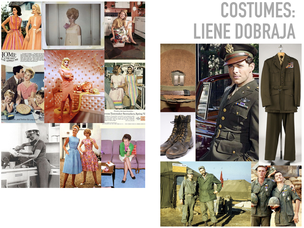 """When designing the costumes for Glory Denied, I wanted to portray the 2 realities our characters function in: the idealized version of life, the way that Older Thompson """"remembers"""" it, and the much more realistic version of it. I wanted the idealized picket-fence version of it to be almost sugary as it would be in someone nostalgic memories of a time gone by and the real-life to be an exact opposite. I intend to do so by building the younger couple with bright crisp colors and bright patterns and using used clothing and distressing them on the older couple."""