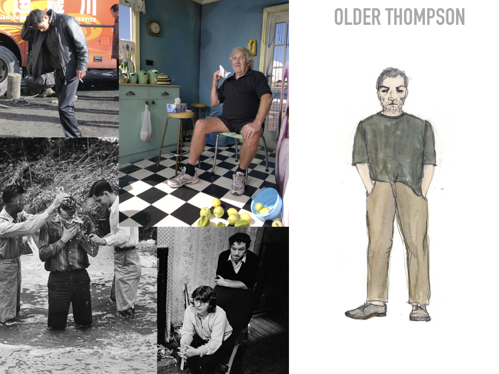 When Older Thompson comes home, it becomes very clear that this has all been a fantasy. We now see that the American dream has turned to nightmare. Older Alyce and older Thompson are dressed in much simpler clothing; his is almost ratty. He does not make an effort to take care of his clothes,