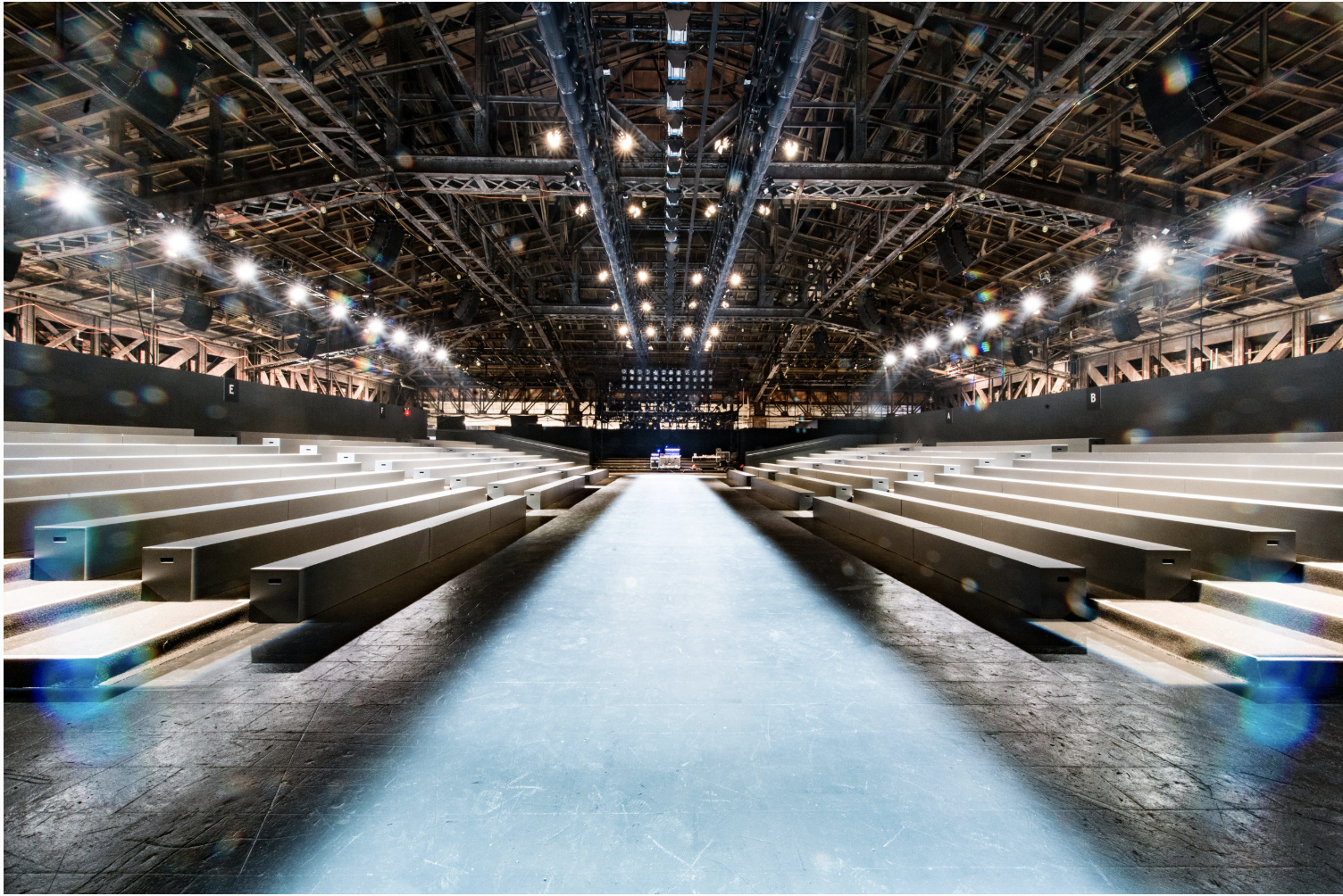 """IMG FASHION - Beginning in 2002, LDJ became onsite venue and show operations manager for the 70+ shows each season in """"The Tents."""" In 2013, we became the production agency of record, handling all aspects of the design, production and operation of the 100,000+ square foot facility hosting of 70+ shows and 20+ sponsor activations. In 2015, we took lead on moving and re-engineering NYFW after 22 years in tented structures entirely redesigning the runway venues, the guest experience, and flow of the event."""