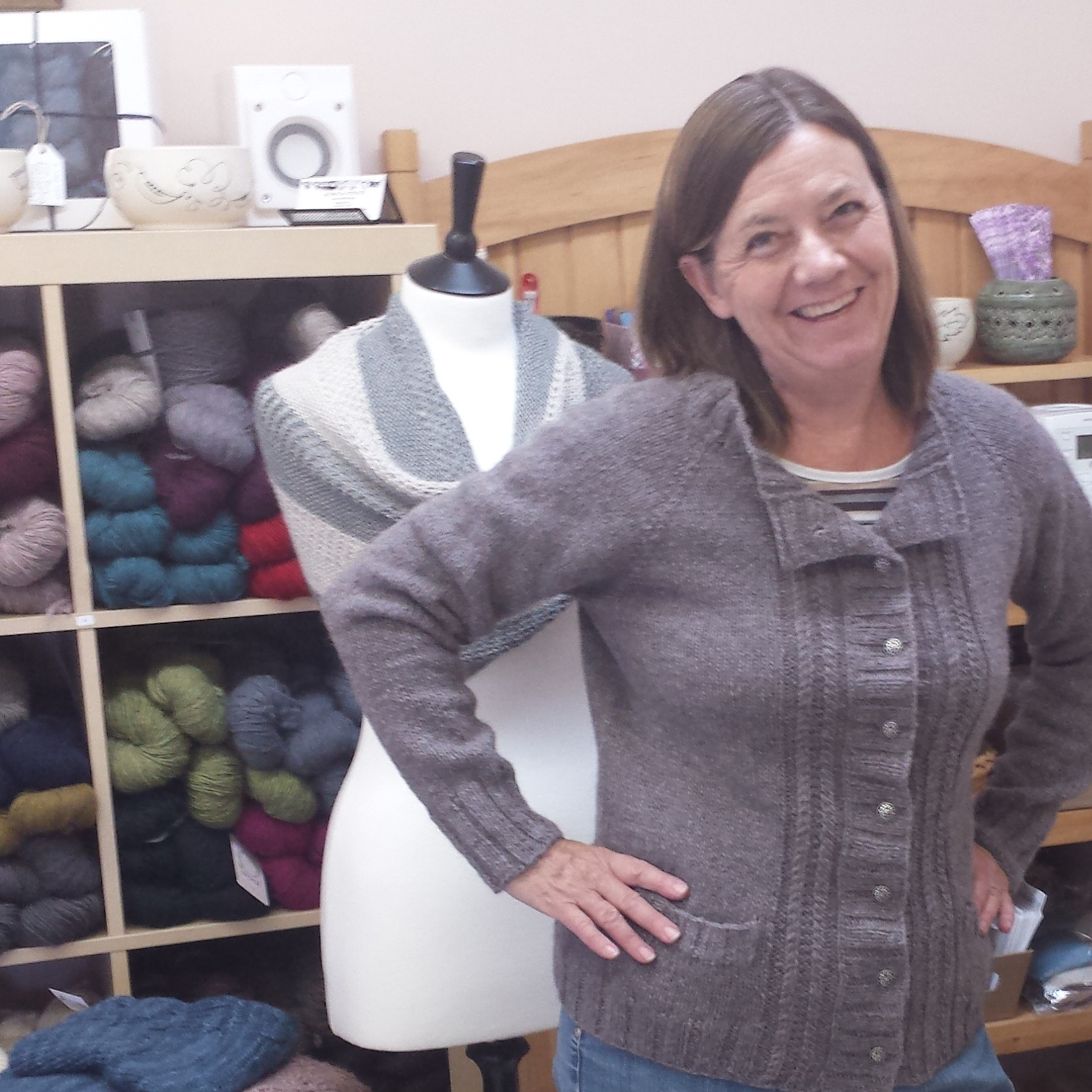 This is the Houghton Cardigan by Marie Greene of Olive Knits in O-Wool Local, Grey Birch. If you haven't tried Marie's patterns, check them out as they are extremely well written...classy and contemporary:)