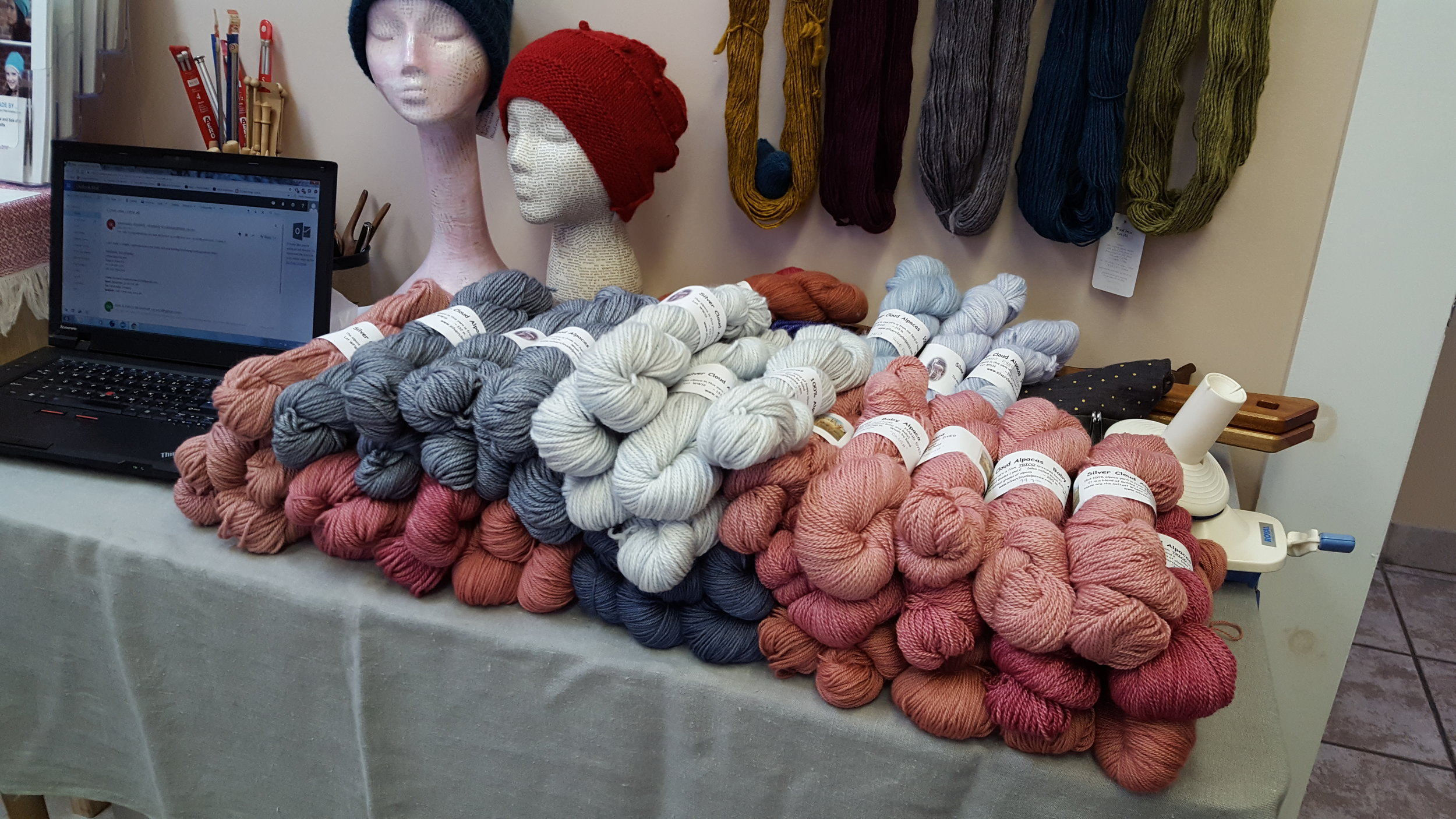 Some of the new hand dyed yarn from Silver Cloud Alpacas!