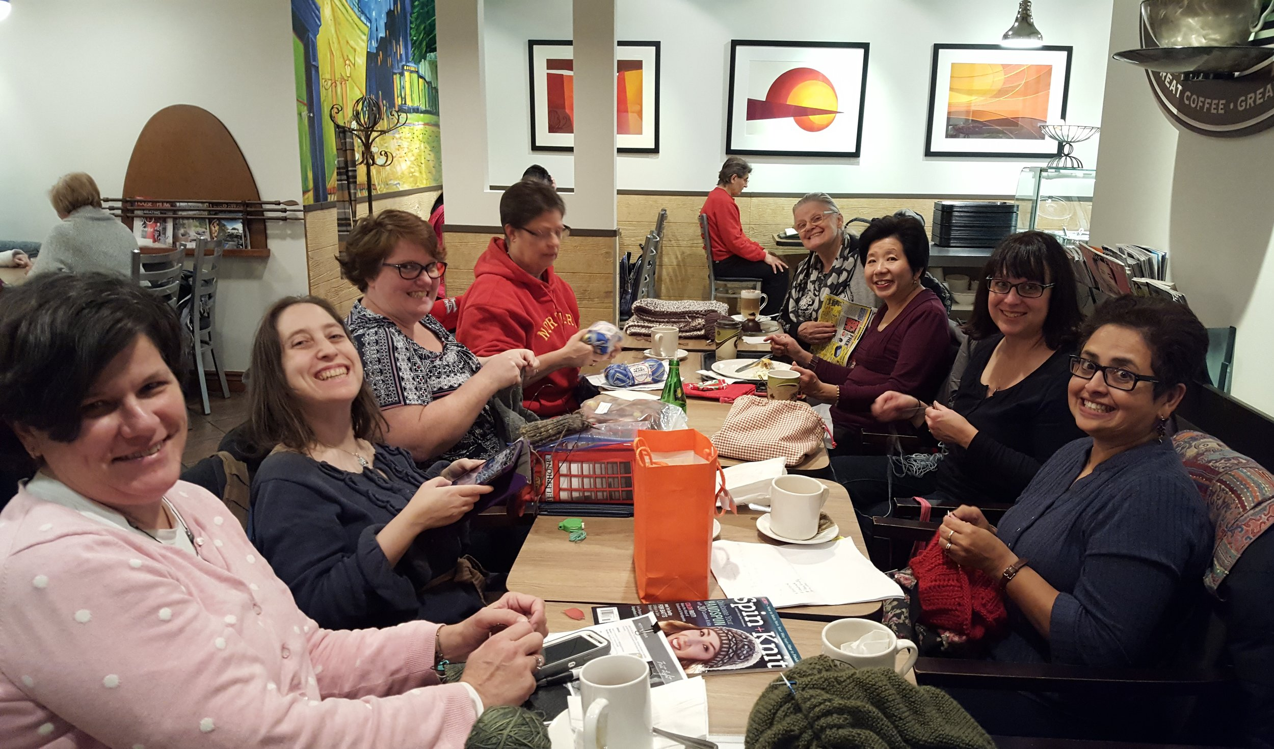 One of my favourite things...knit night with friends:)