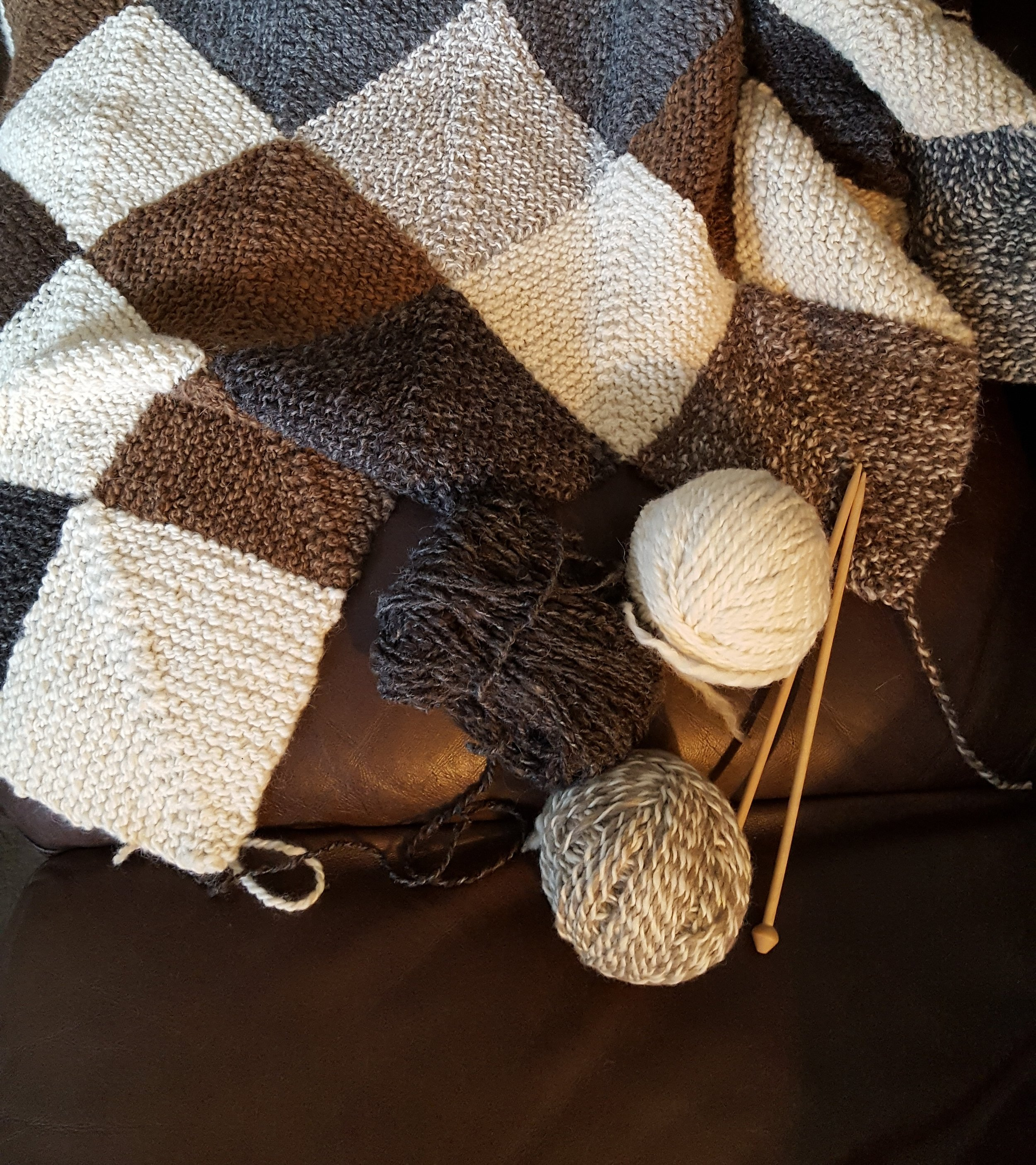 I have made some progress on this long term project...a hand spun alpaca/wool memory blanket...there is satisfaction in both quick knits and this kind of a project that takes longer to complete...what is your favorite?