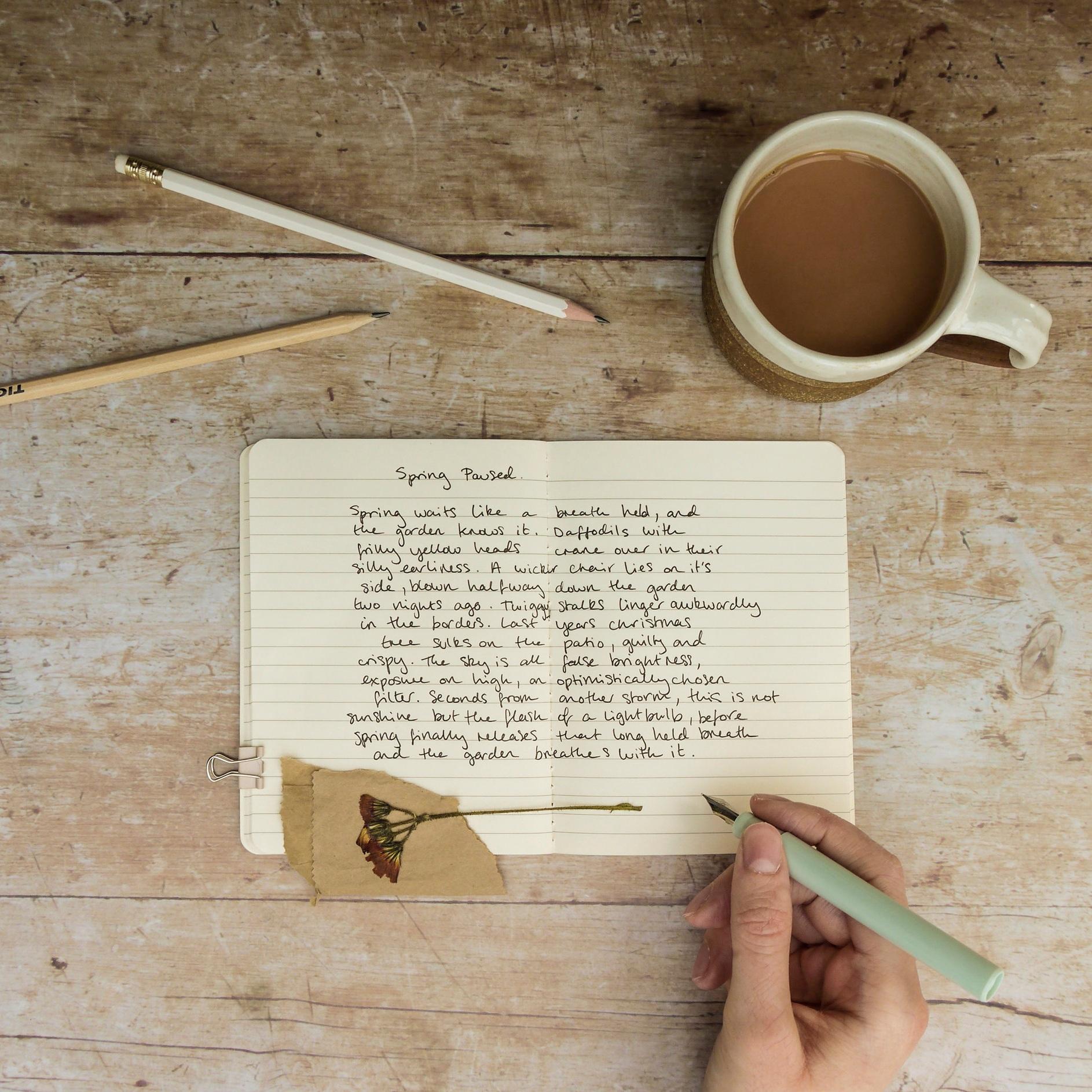 writing in progress flatlay