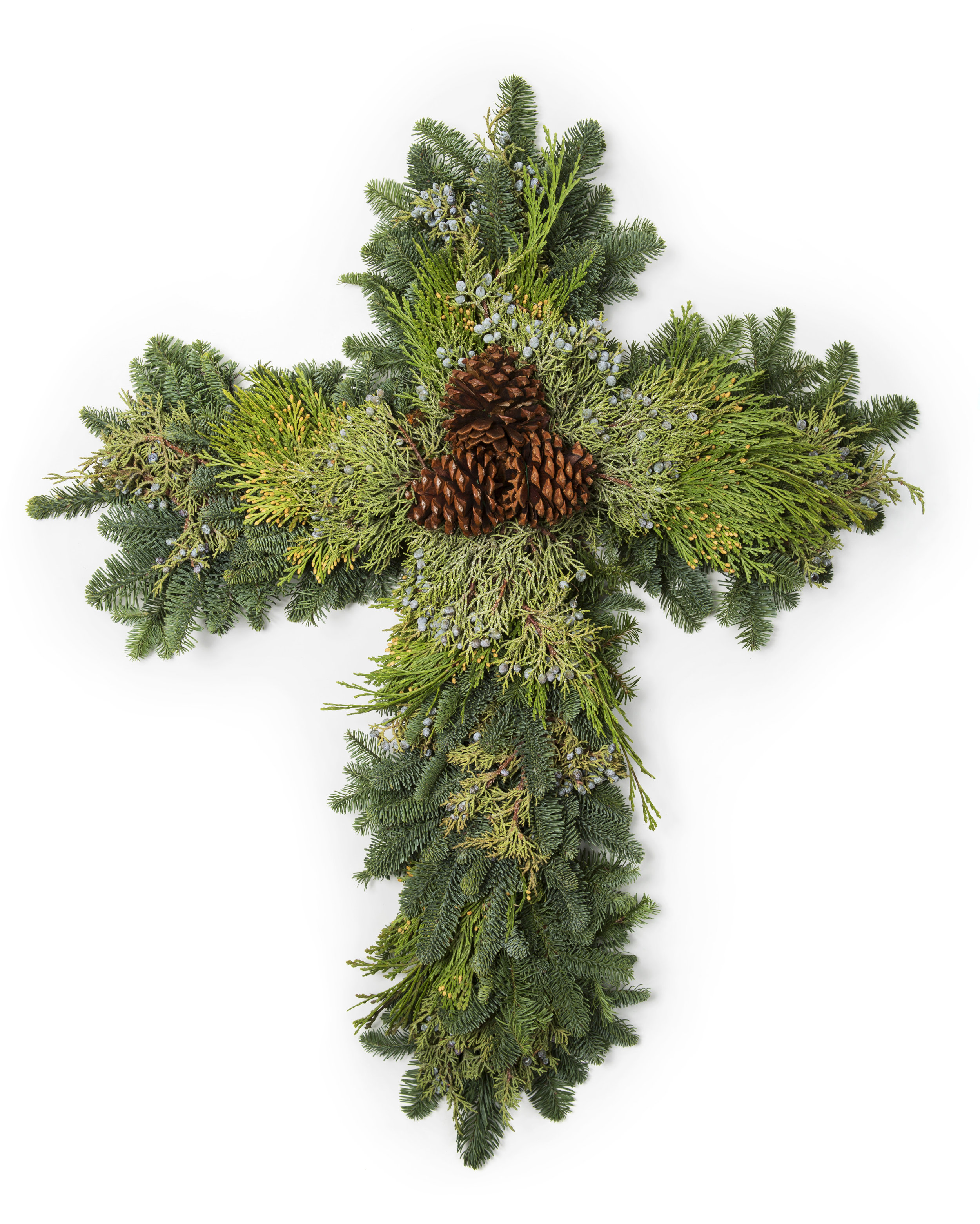 Mixed Evergreen Cross Wreath