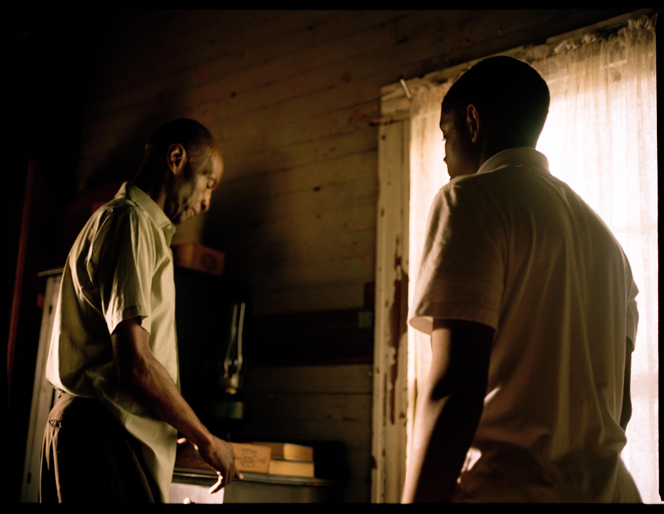 "L.B. Williams as Mose Wright and Joshua Wright as Emmett Till in ""My Nephew Emmett""  645 Kodak Portra (Medium Format)"