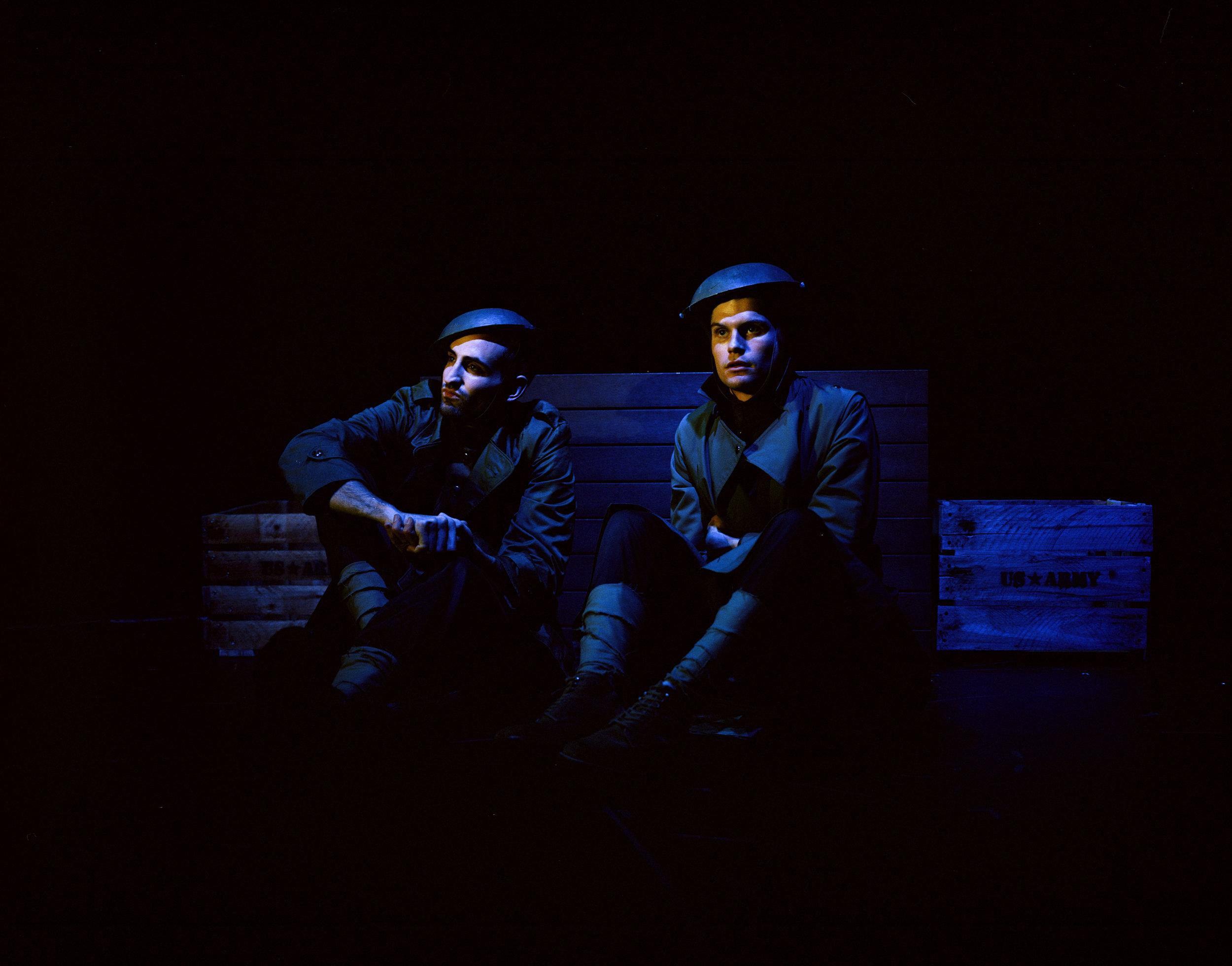 "Joe Pietropaolo as David Camper and Mackian Bauman as Burt Smith in a dress rehearsal for ""Sources of Light Other Than the Sun""  dir. Sam Hood Adrain  6x7 Kodak Portra (Medium Format)"