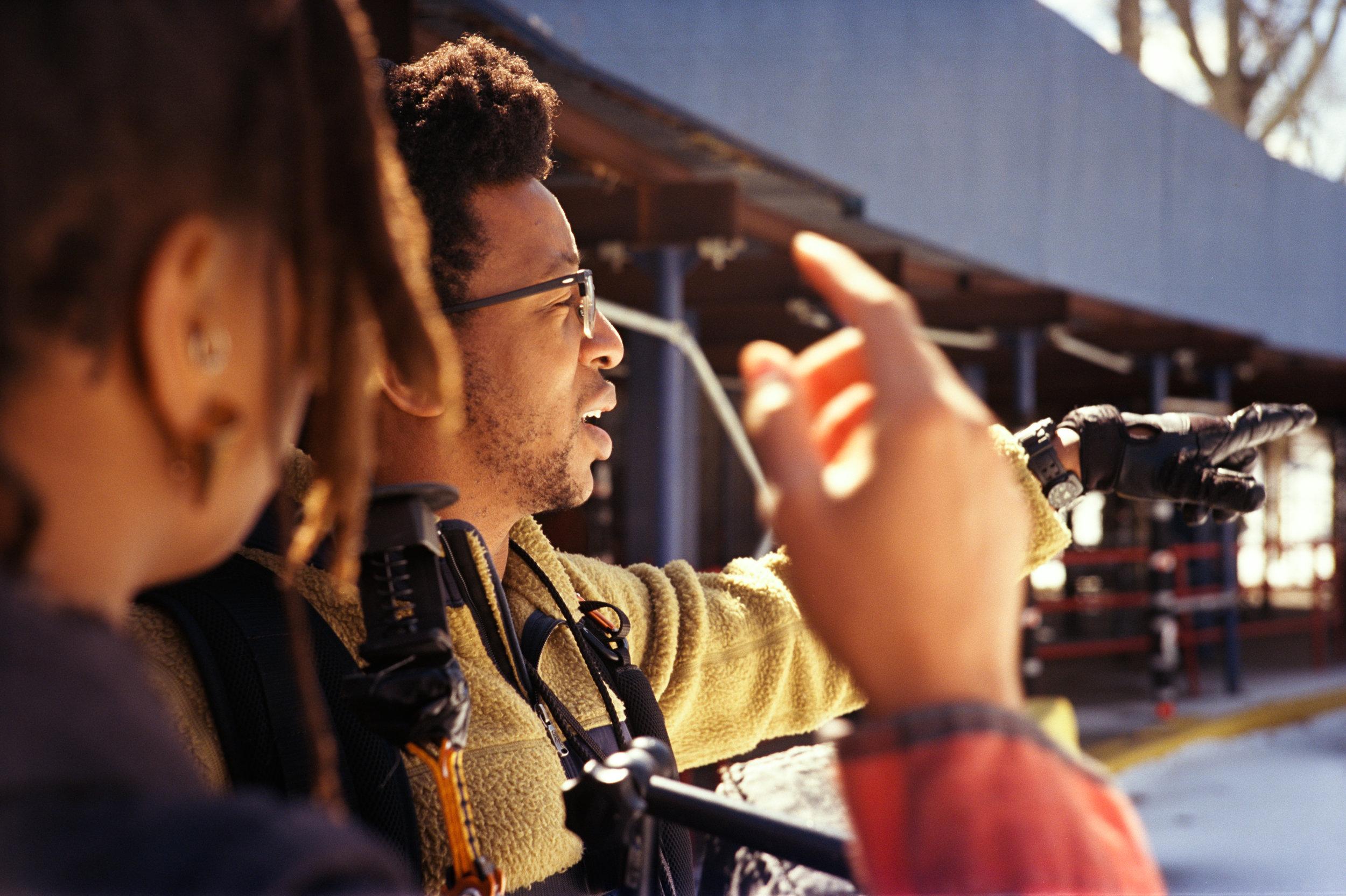 "writer/director Raven Jackson and cinematographer Jomo Fray on the set of ""Nettles""  Kodak Ektar (35mm)"