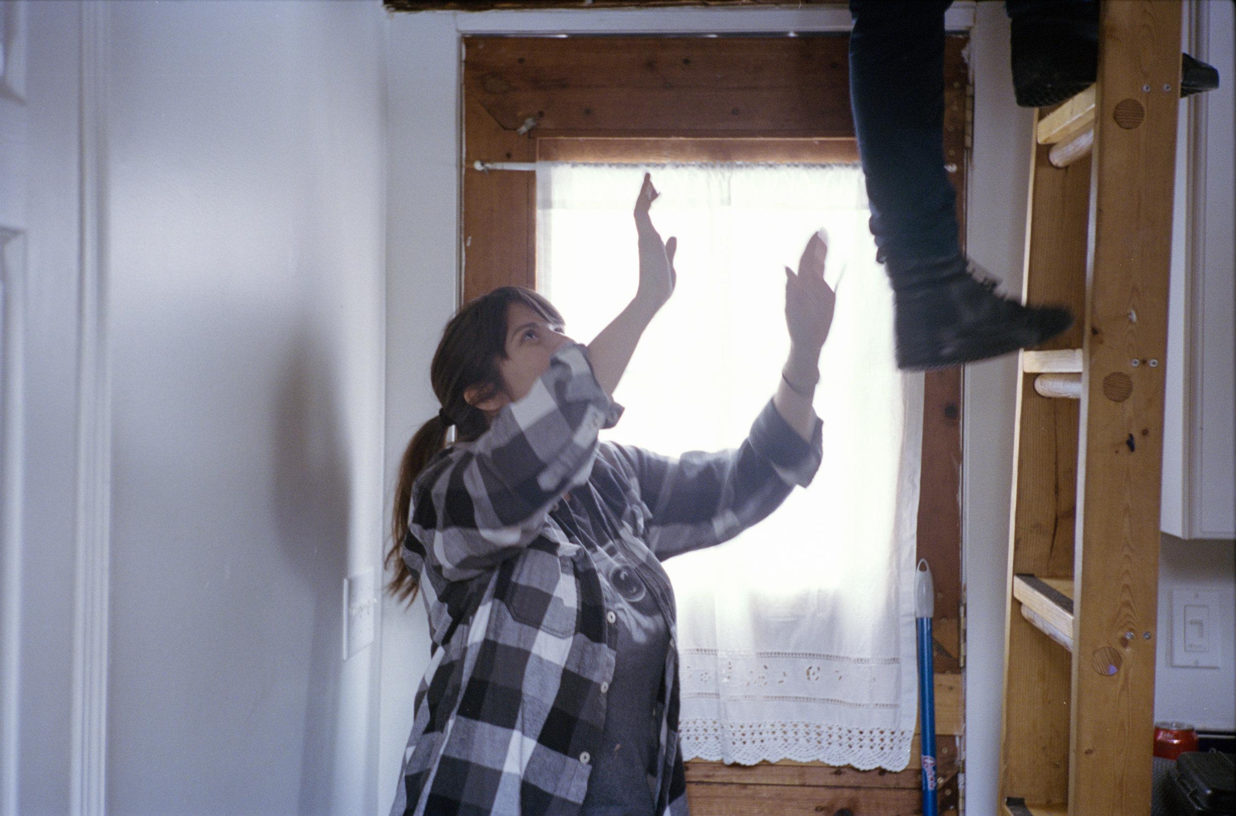 Producer Maria Altamirano spotting all ladder-climbers  Kodak Portra (35mm)