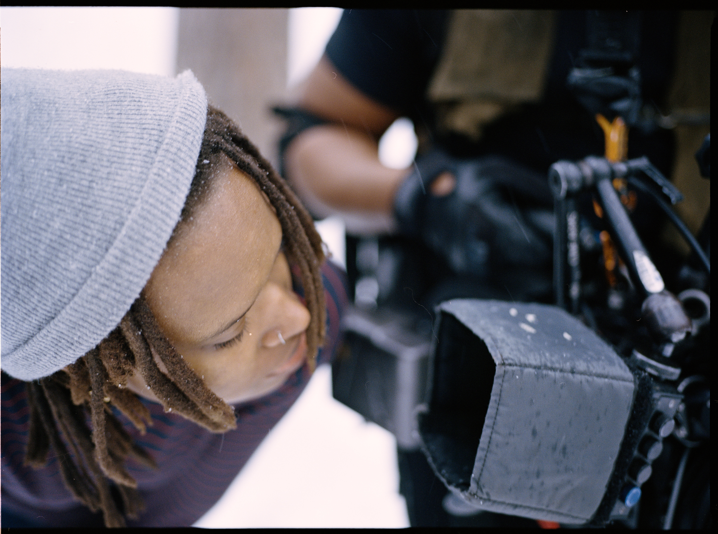 Writer/director Raven Jackson on monitor  645 Kodak Portra (Medium Format)
