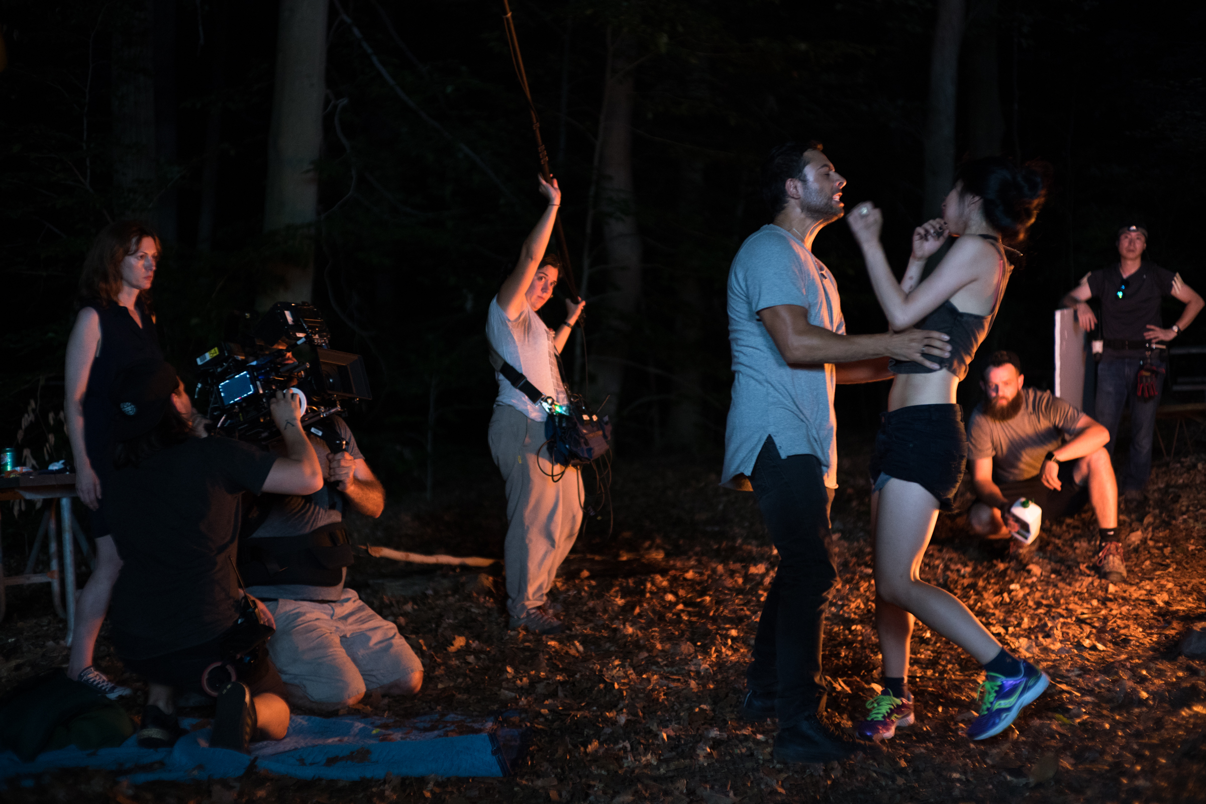 """from L to R: lead actor Marguerite Stimpson, 1st AC Griffin Yu, cinematographer Shlomo Godder, sound recordist Ines Gowland, actors Manuel Herrera and Yuka Taga, key grip Conor Stalvey (fuel for the fire in hand), and gaffer Doyle Lee during a take on the set of """"Ma""""  Sony a9"""