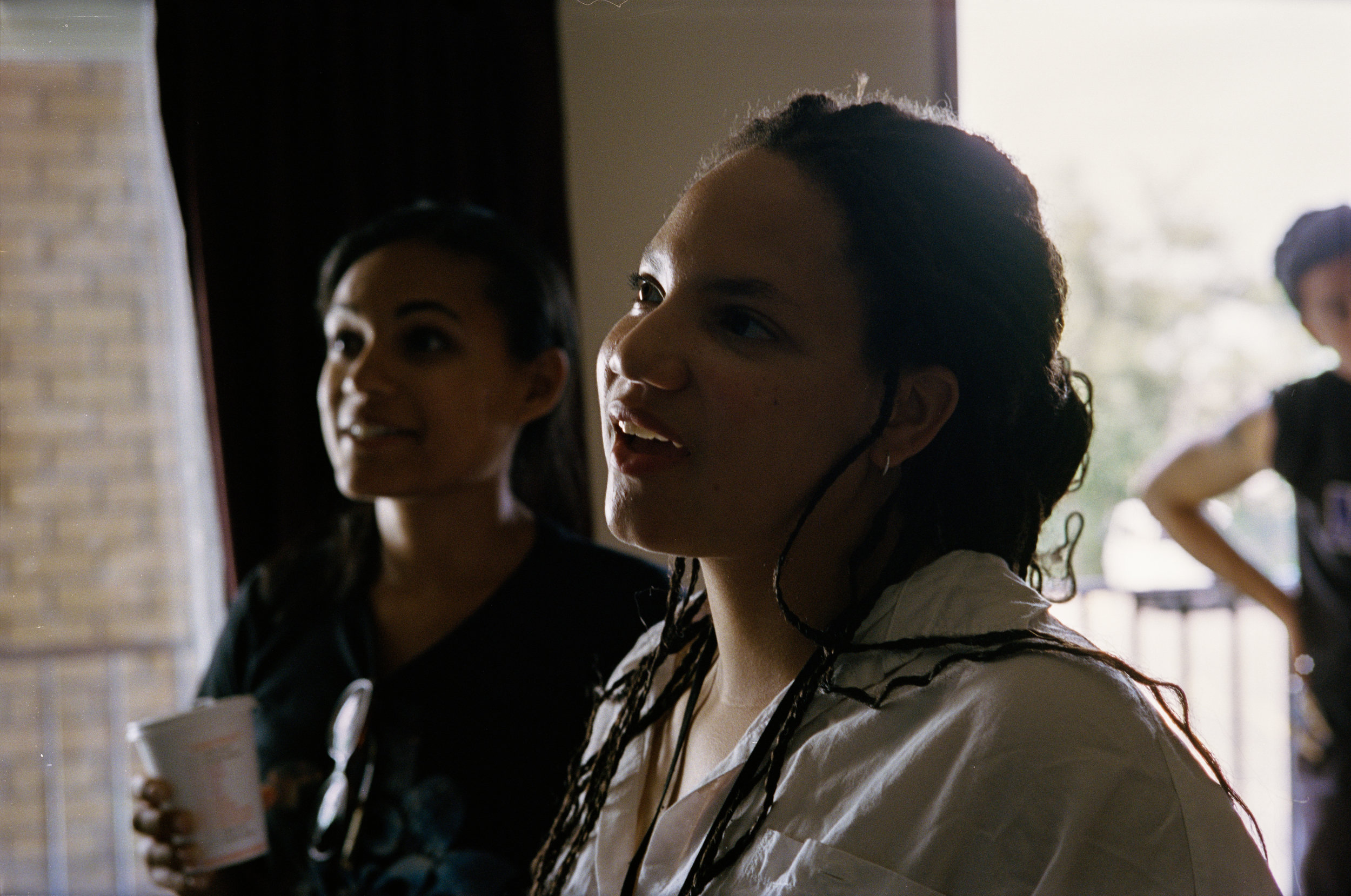"""producer Lauren and director Haley Anderson watch the take on the set of """"Summer Animals""""  Kodak Portra (35mm)"""
