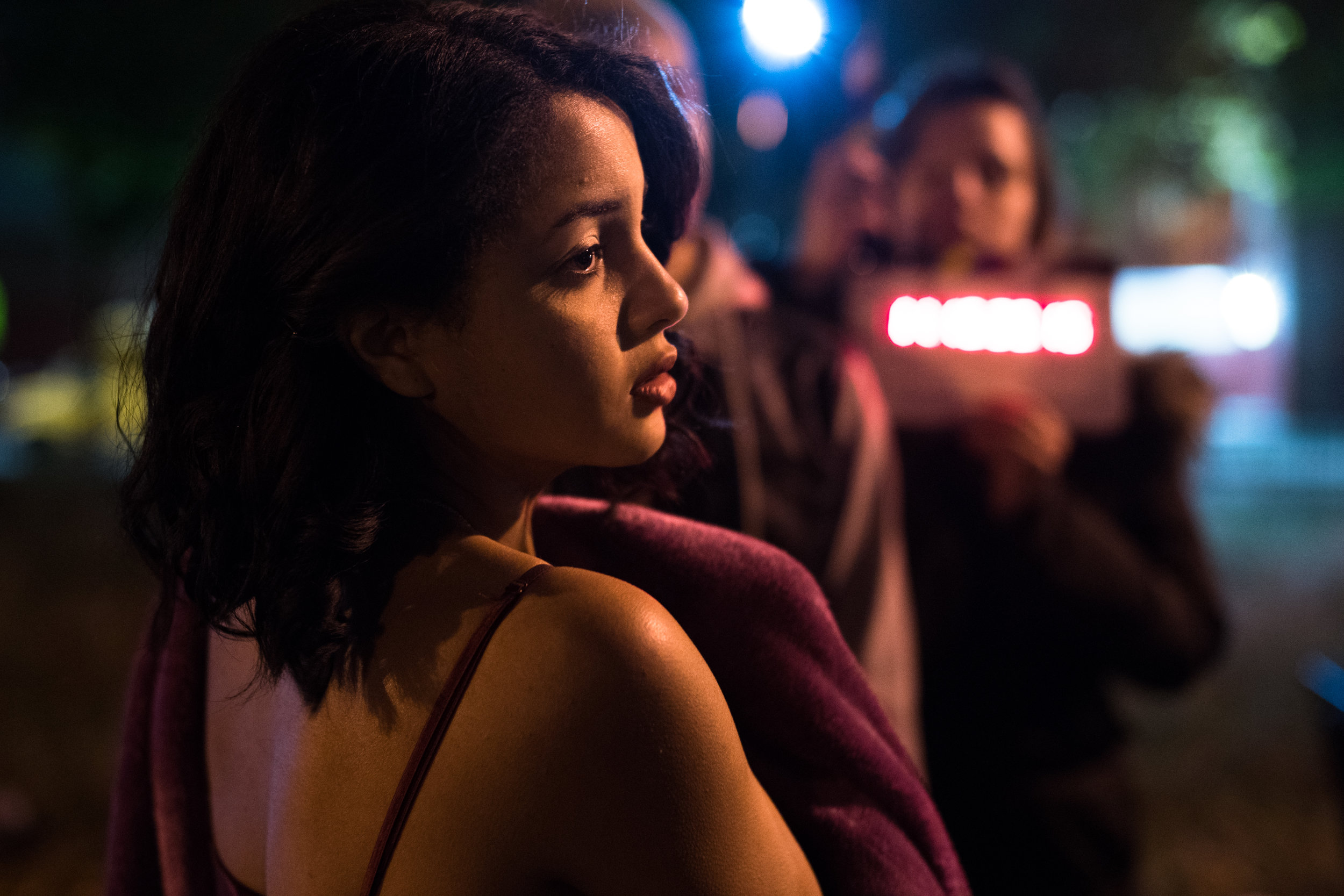 actress Crystal de la Cruz gets ready to go into a take