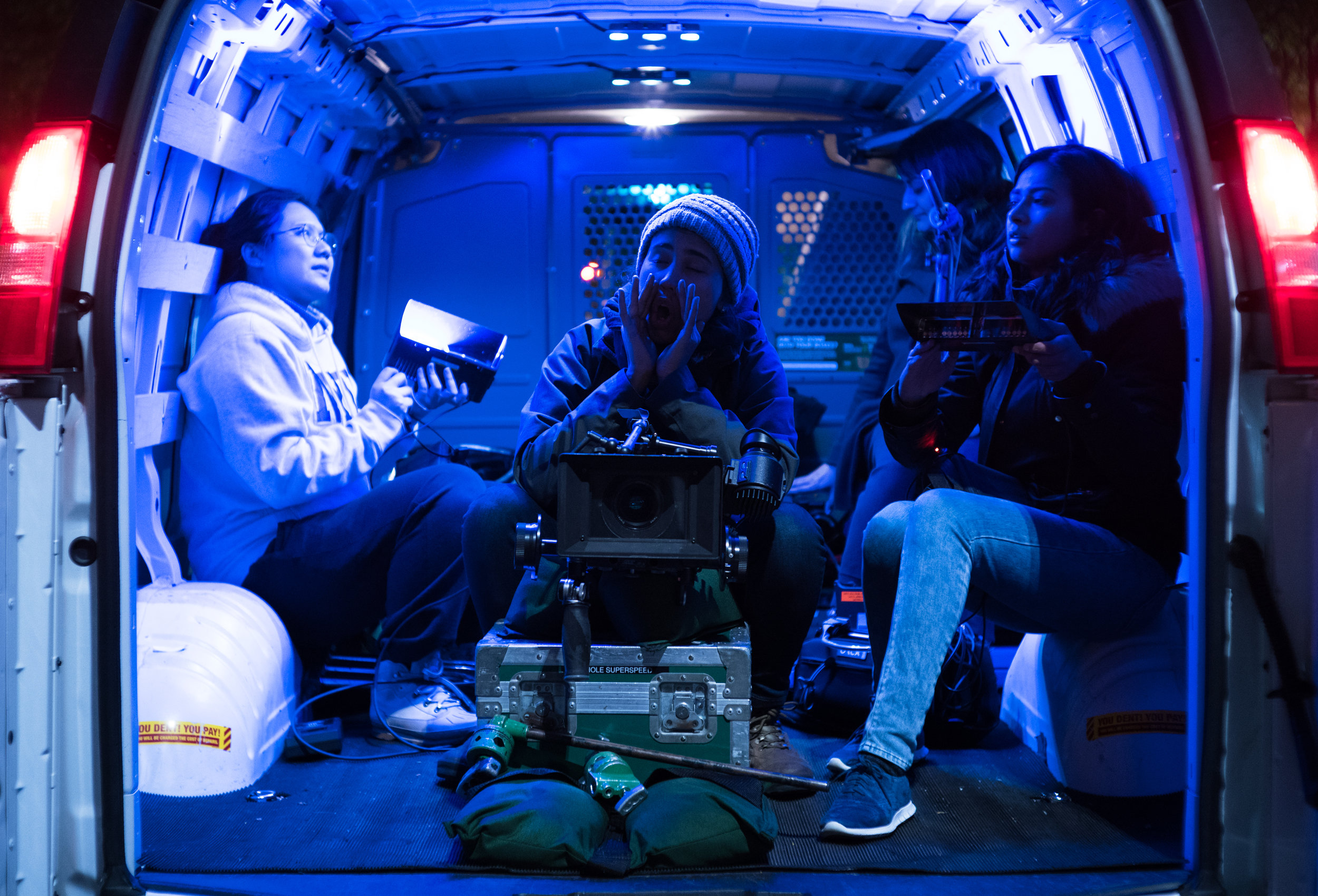 """From L to R: cinematographer Lore Durán, 1st AC Tang Yi, sound mixer Swetha Regunathan, and writer/director Ria Tobaccowala on the set of """"Freedom Shadow""""  Sony a9"""