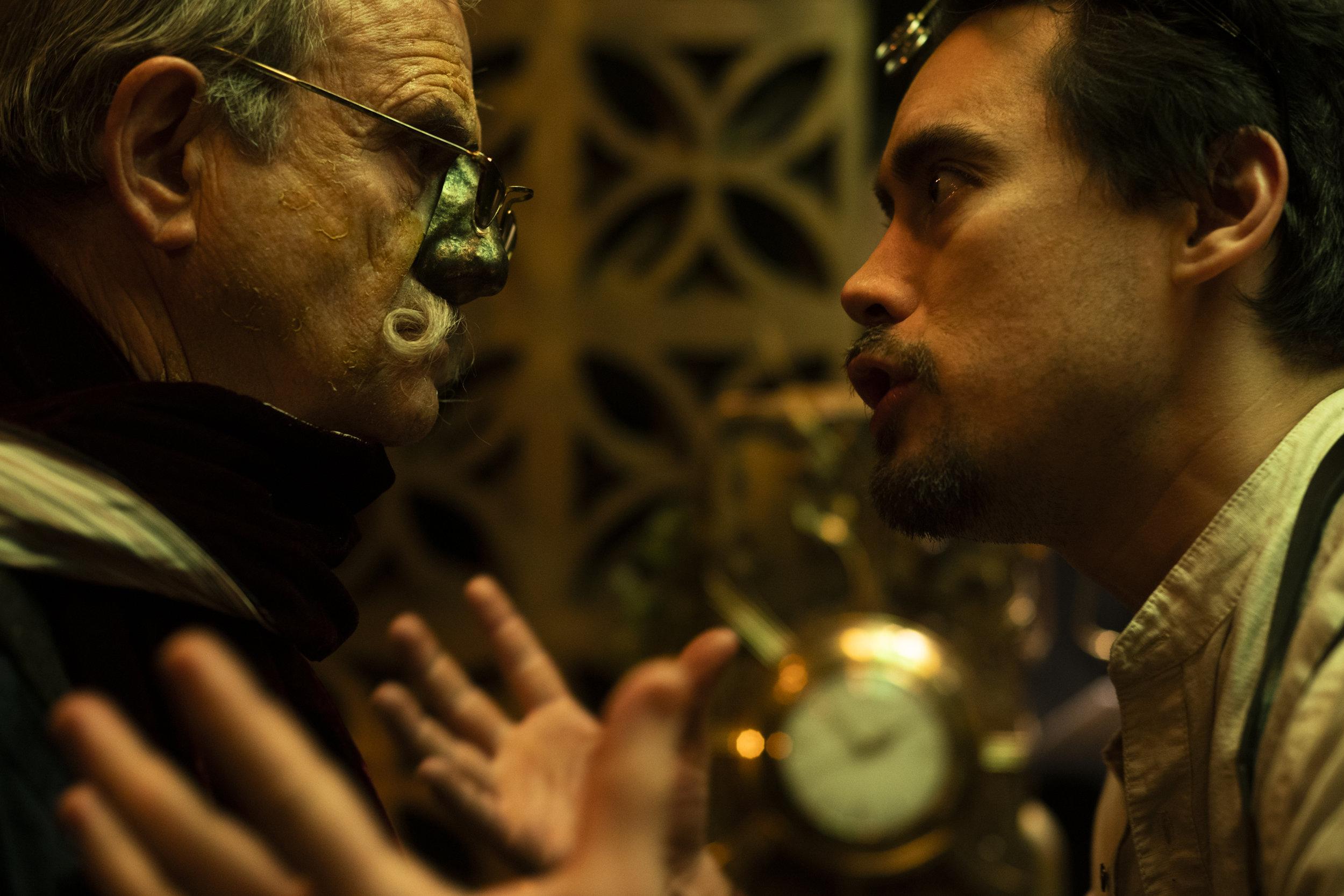 "Professor Orville (Tibor Feldman) listens to Professor Vaqt's (Anthony Ordonez) appeal in ""Experiment""  (sony a9)"