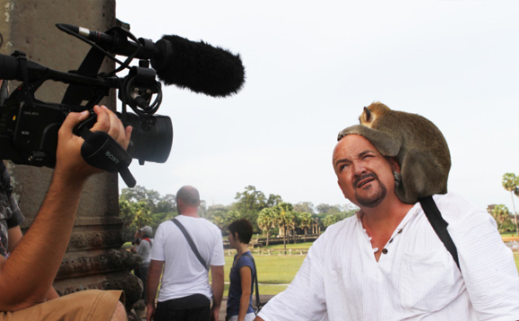 This naughty monkey jumped on my head while we were filming