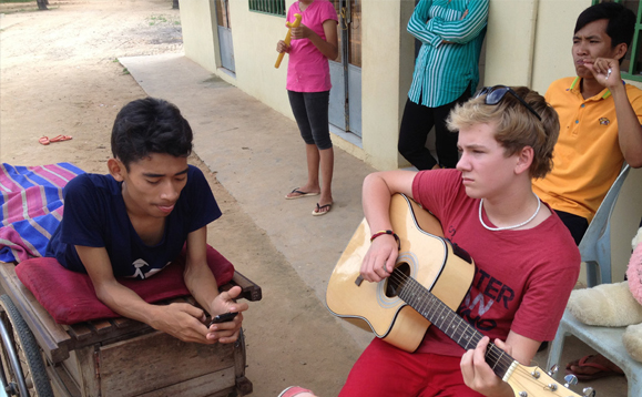 Max doing his thing at the childrens' home.