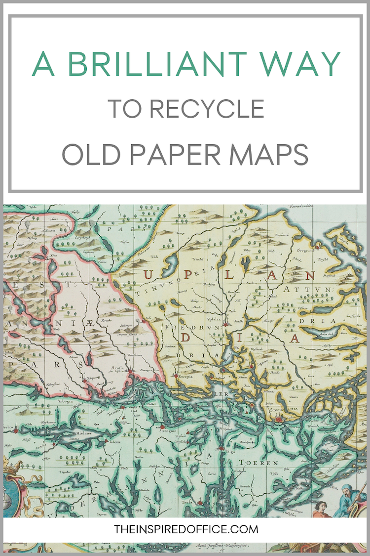Don't throw out those old paper maps! See what I did with mine, I think it will inspire you! #ecofriendly #decluttering
