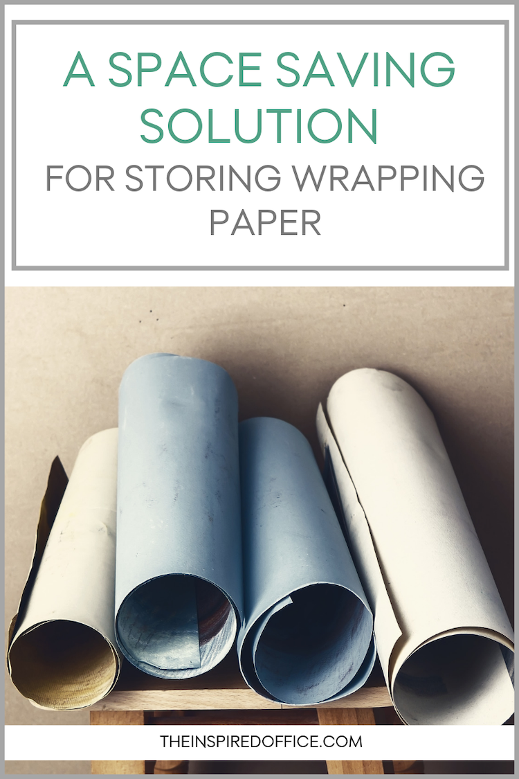 Storing wrapping paper can take up a lot of room! Check out what I recommend to my clients. #organizing #professionalorganizer