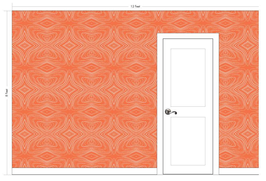 "GRAHAM tangerine | Pattern Repeat: 26""w x 26""h"