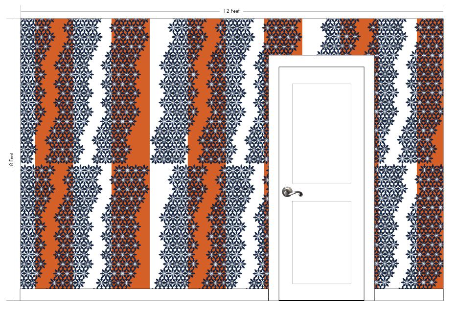 "IVY orange | Pattern Repeat: 52""w x 52""h"