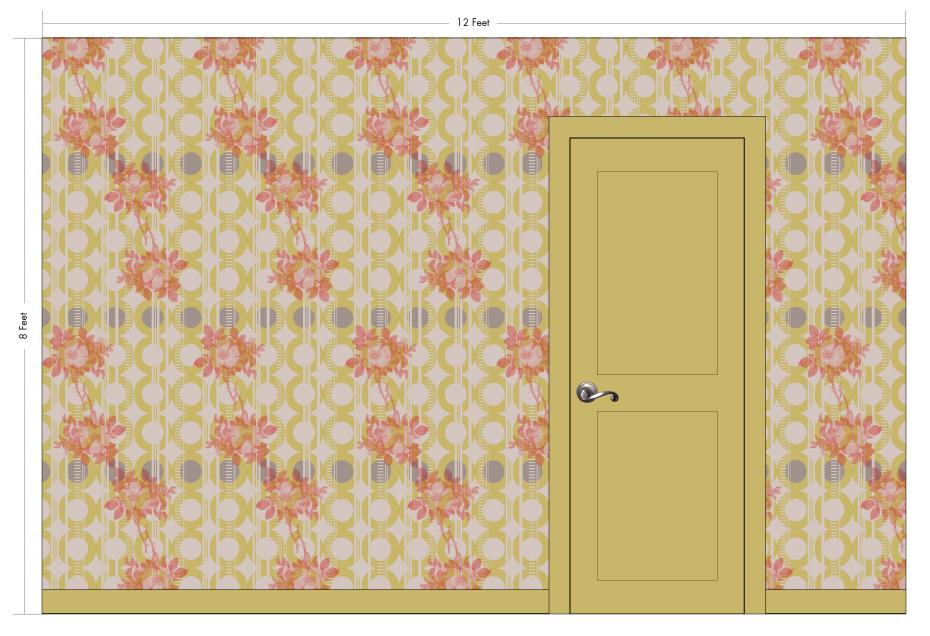 "ROSIE mustard | Pattern Repeat: 26""w x 54""h"