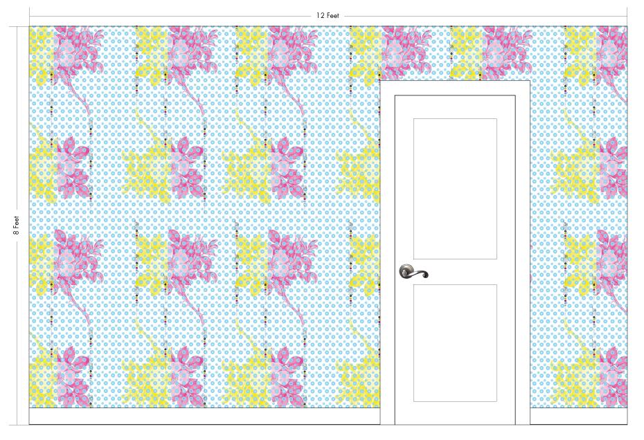 "RILEY cyan | Pattern Repeat: 26""w x 54""h"