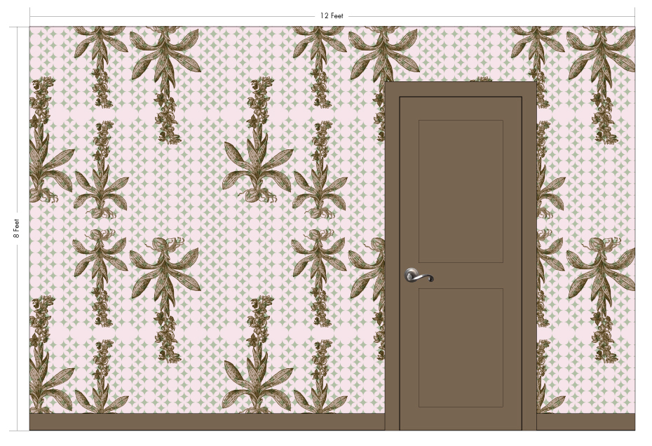 """EVELYN pink   Pattern Repeat: 31""""w x 54""""h"""