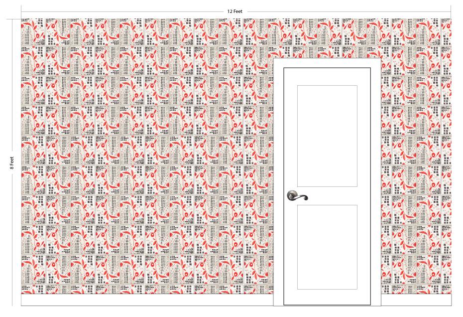 "CHERI red | Pattern Repeat: 8""w x 9.5""h"