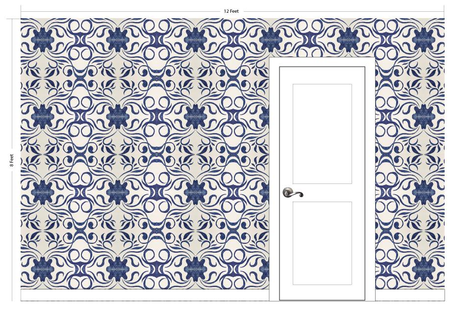 "MOLLY indigo | Pattern Repeat: 26.5""w x 26""h"