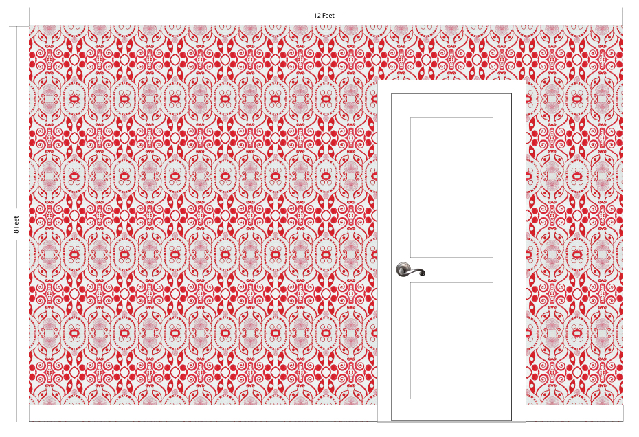 "PLOOK red | Pattern Repeat: 12.25""w x 19""h"