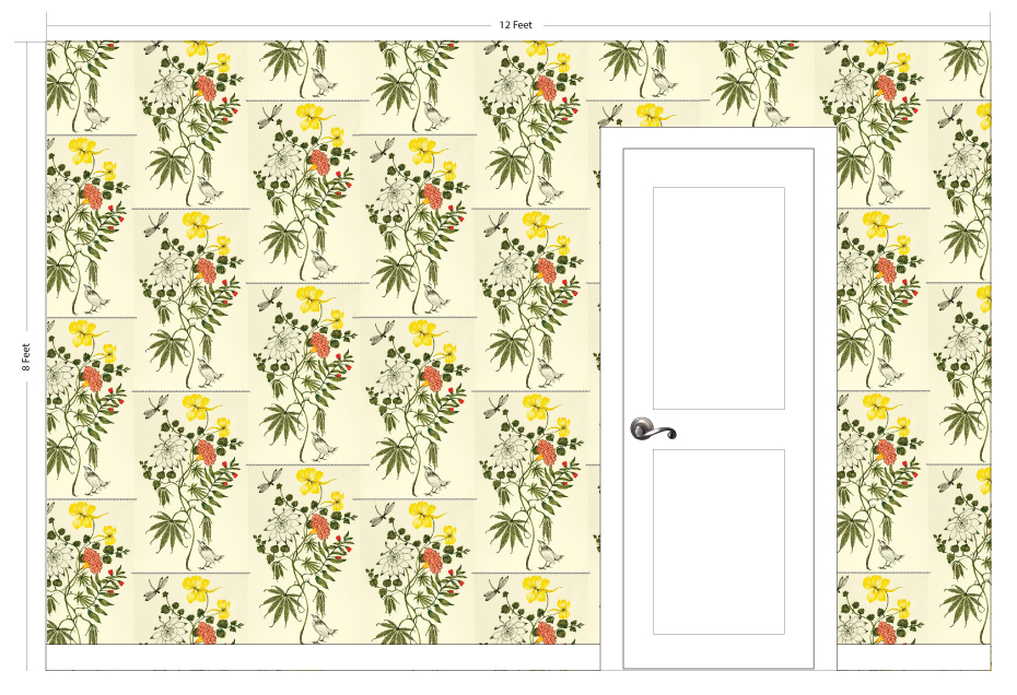 """SPRING grass   Pattern Repeat: 9.5""""w x 15""""h"""