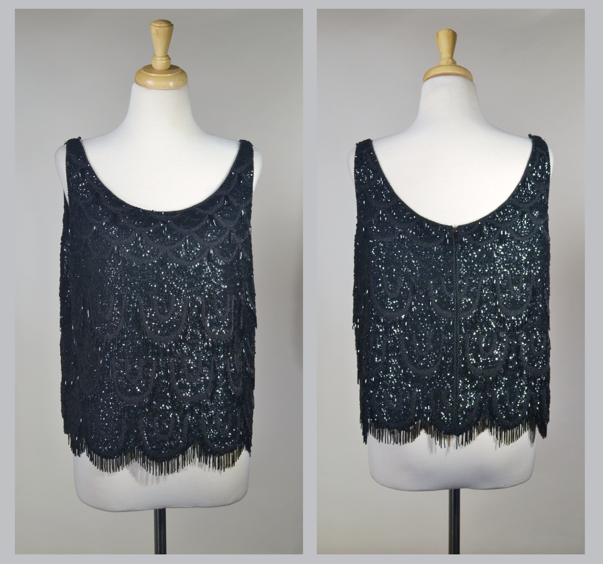 1960s Sequin and Beaded Sleeveless Top
