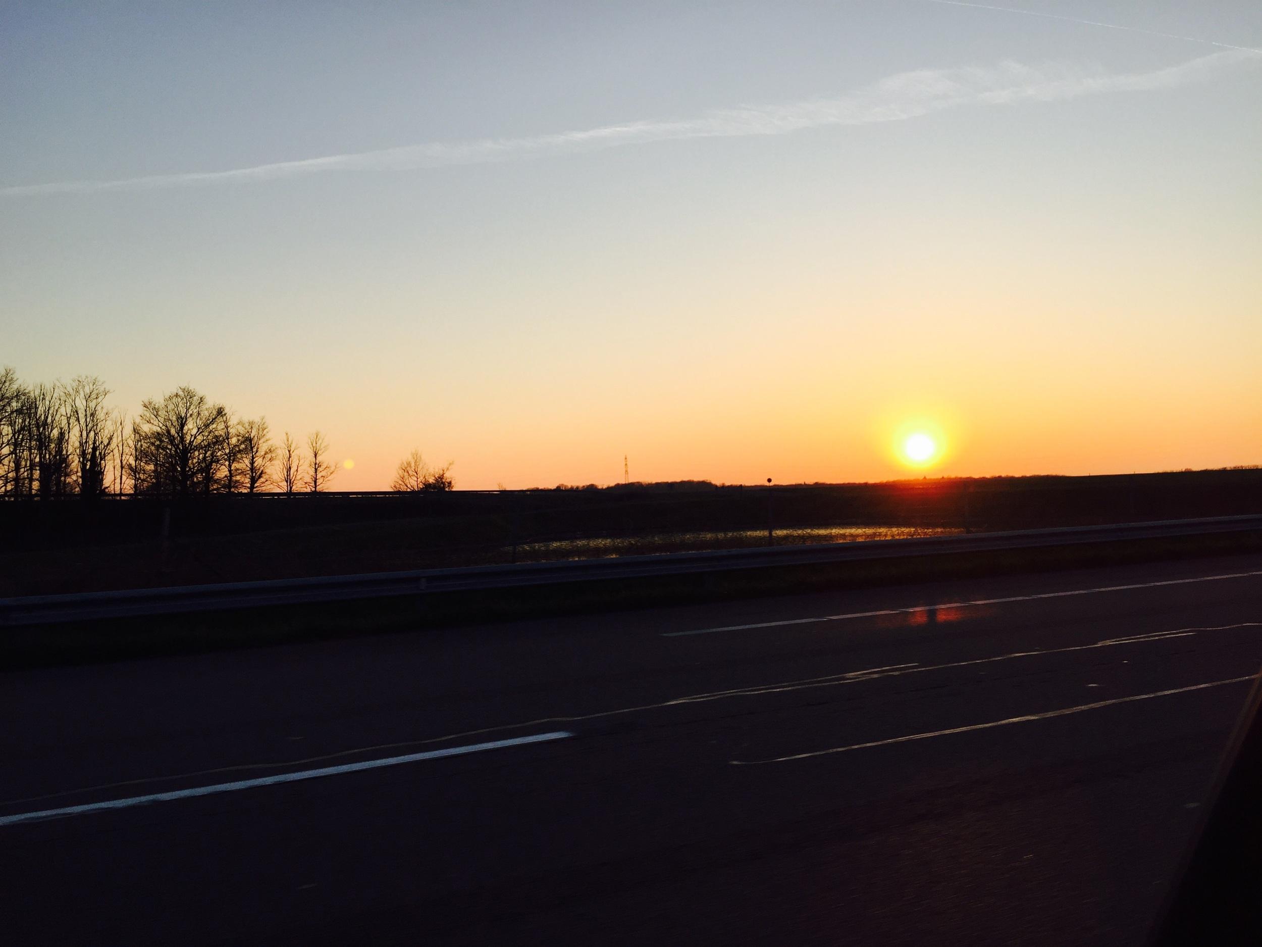 The Burgundian  countryside at dusk, outside Dijon.