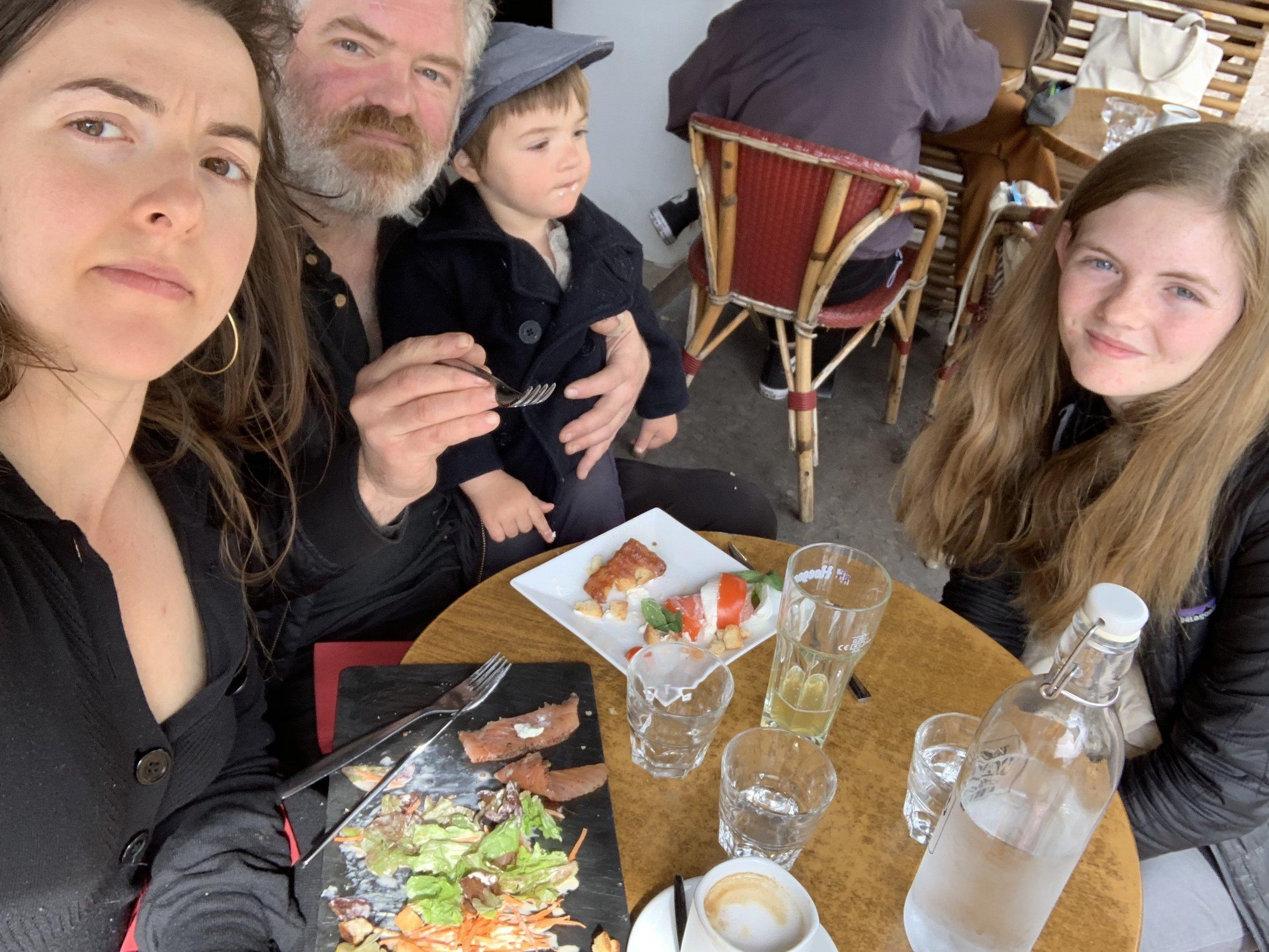 Enjoying lunch on the Rue Mouffetard.
