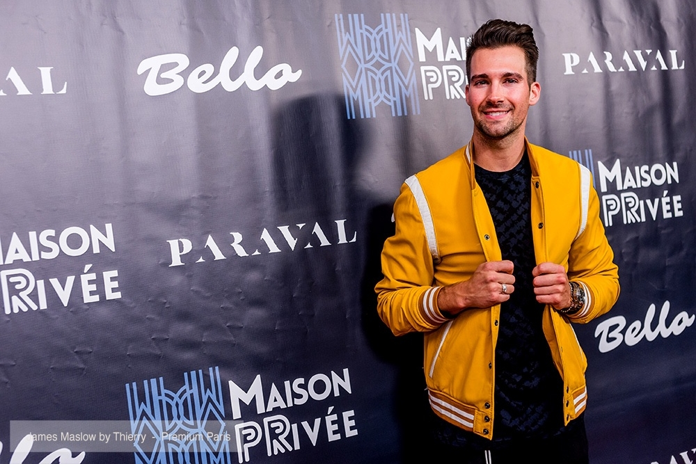 James Maslow attends the Bello and Maison Privee Party at Hills Penthouse wearing Cadogan Sweater (@cadoganworld) and Paraval Pants (@paraval.us)