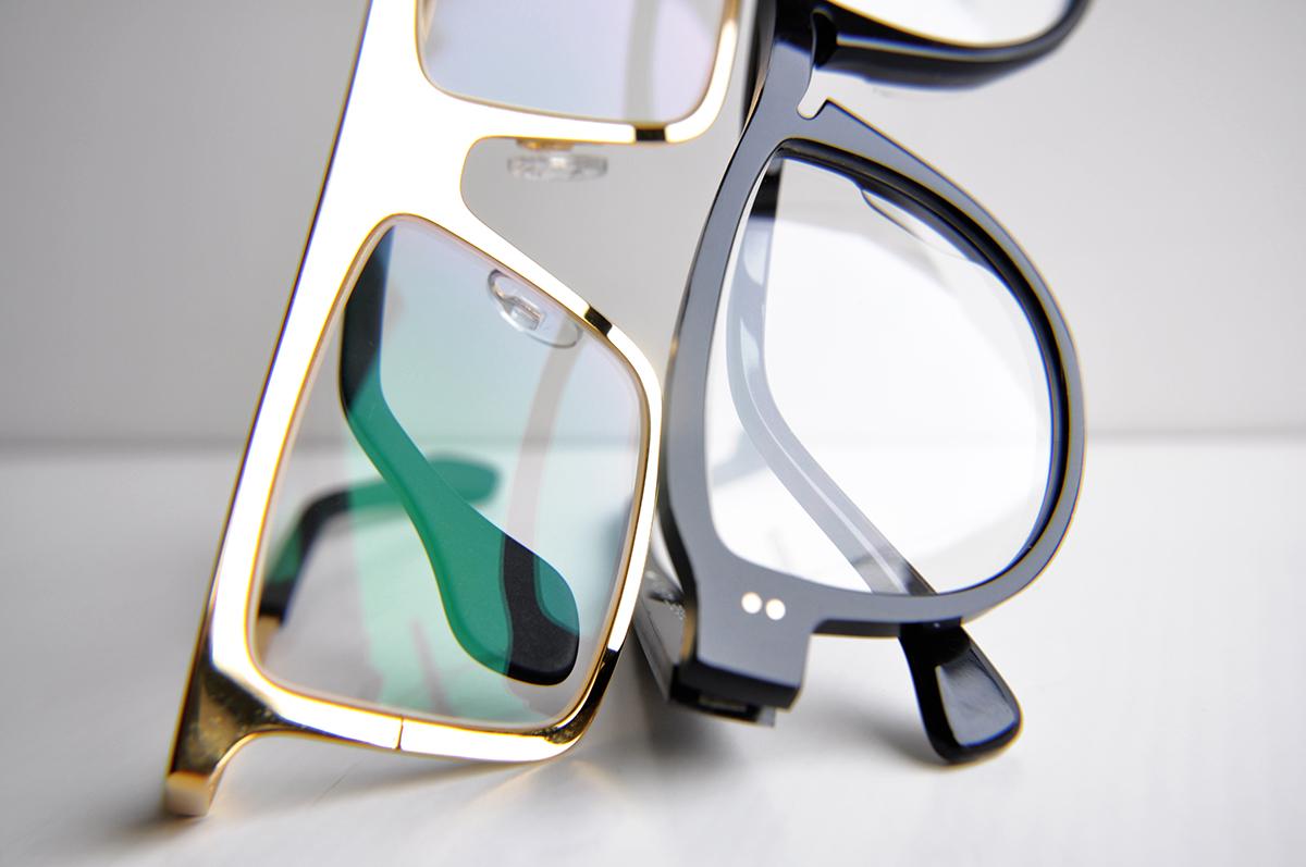 18k gold square eyeglasses and black optical aviators