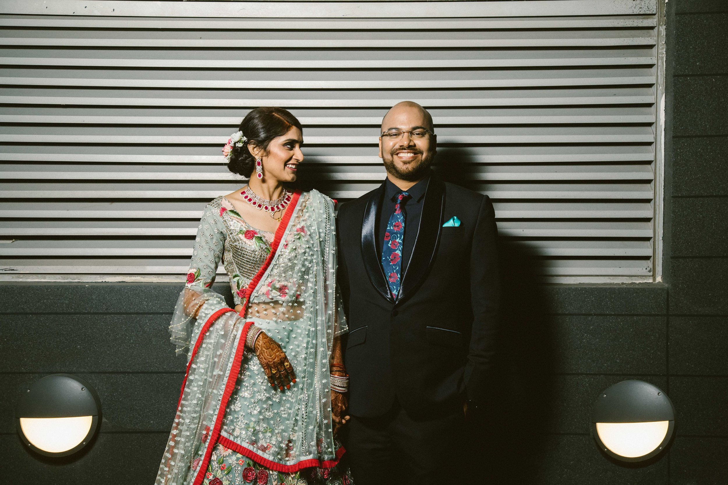 Roli & Sanket photographed for their reception in the evening.