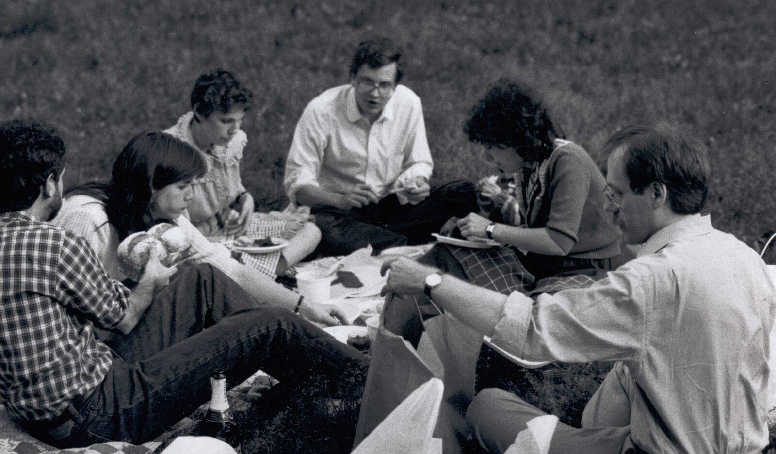 Samuel G. Freedman (left),Arthur Sulzberger, Jr (center),Jeff Schmalz (right), and other New York Times journalists