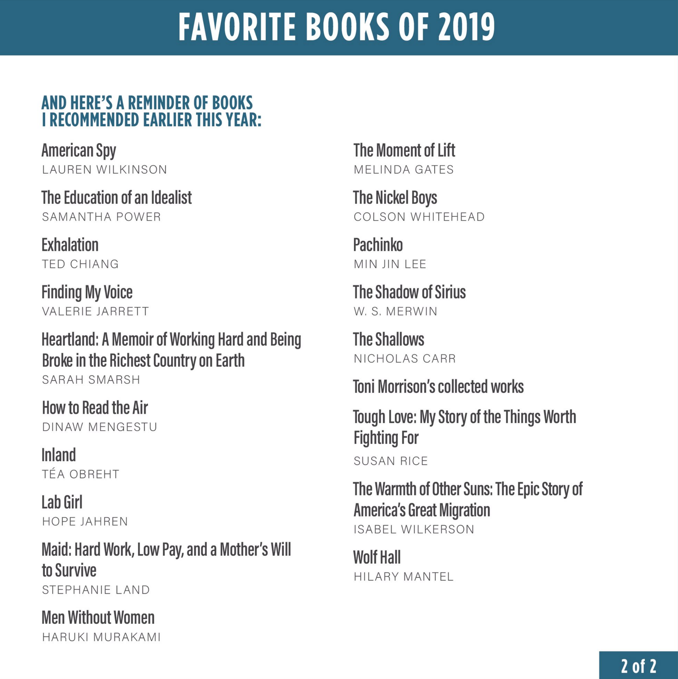 List Here Are Barack Obama S Favorite Books Of 2019 The National Book Review