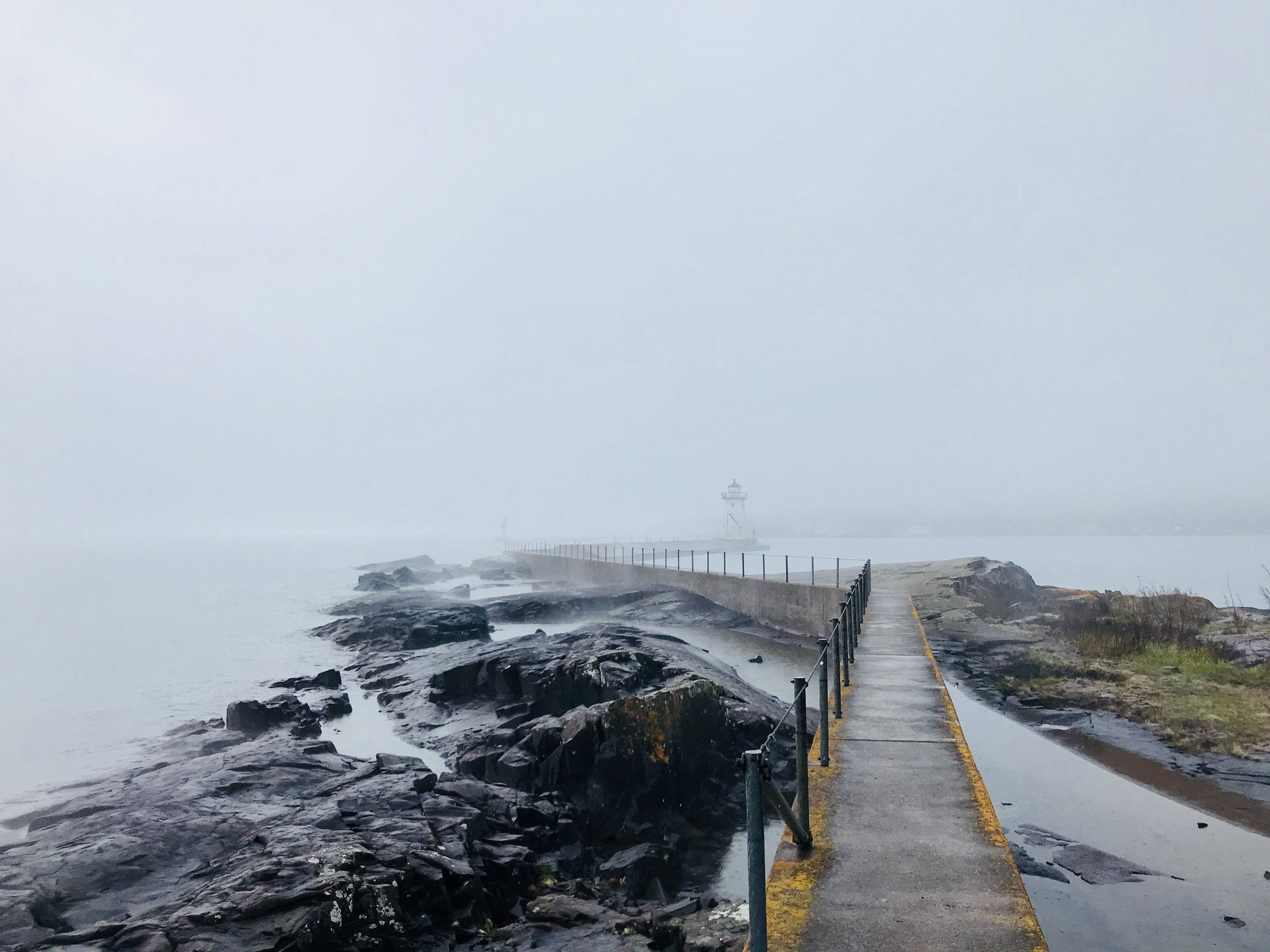 lighthouse at Grand Marais, Minnesota. before the storm