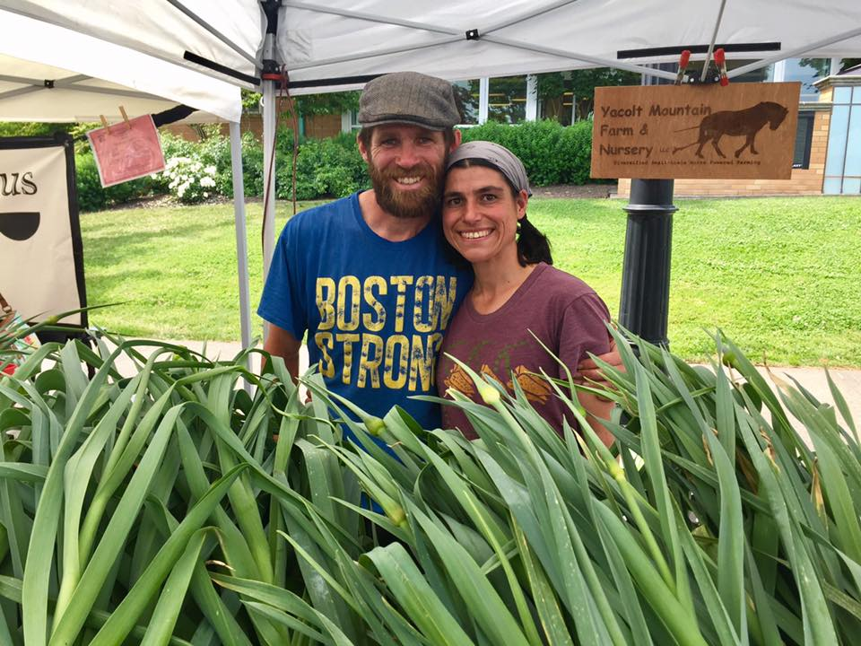 Dan and Caroline Swansey of Yacolt Mountain Farm and their gorgeous leeks. Photo courtesy of the Downtown Camas Association.