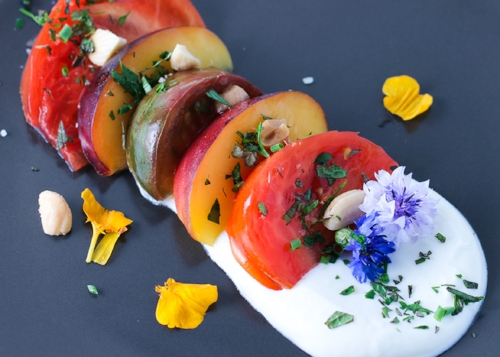 Tomato & Nectarine Salad w/ Whipped Feta...and Edible Flowers!