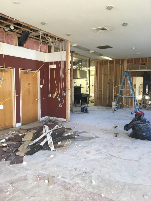 Week One - Demolition is underway. We removed the wall creating the bathroom hallway to enable us to rebuild it to code.