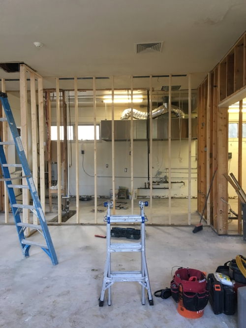 Week Two - Framing creates more space in the Commercial Kitchen for small businesses to work side by side.