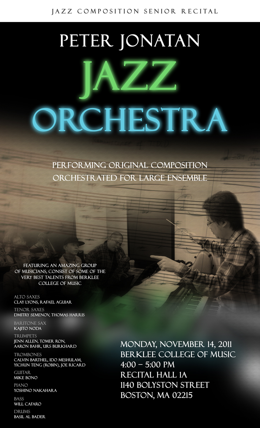 Poster for my senior recital, Berklee 2011